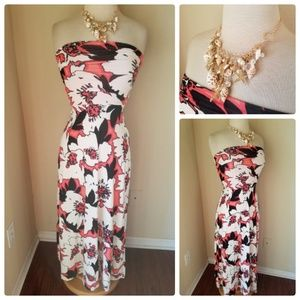 The Limited Pink Floral Strapless Maxi Dress XXS